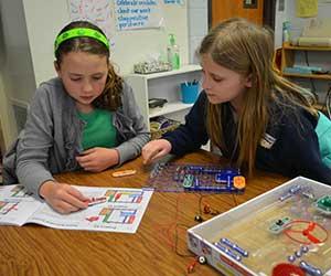 Girls building circuits