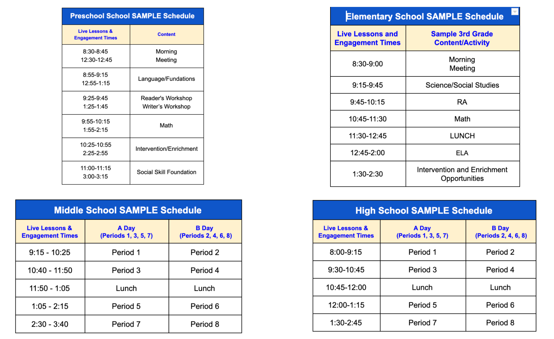 Sample Distance Learning Schedule