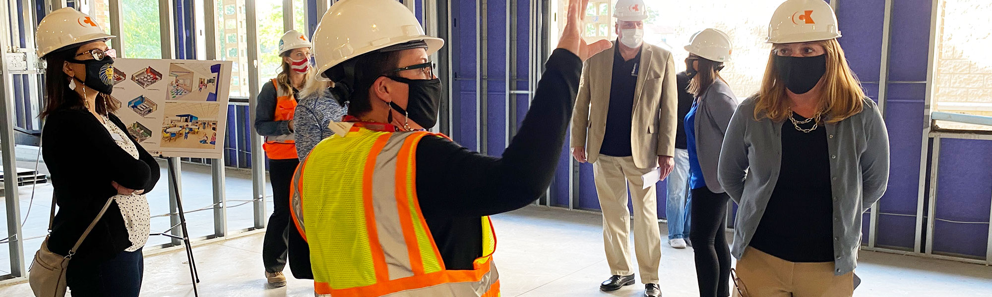 BOE touring new Lincoln Elementary construction site.